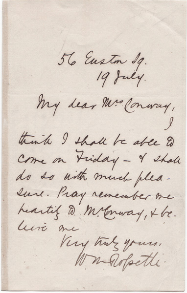 Autograph letter von William Michael Rossetti