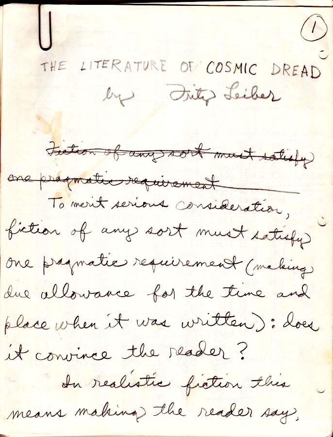 Fritz Leiber: The Literature of Cosmic Dread, holograph manuscript, July, 1975